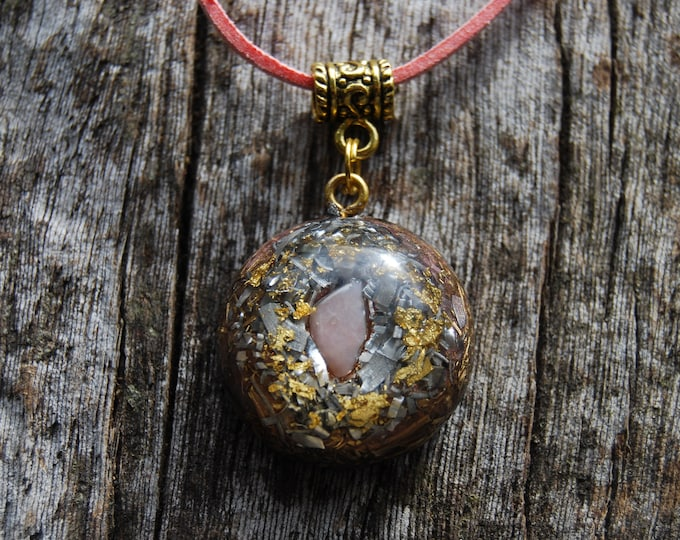 Pink Opal with 24K Gold Orgonite® Orgone pendant Small