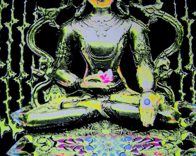 Buddha Fractal Spirit Poster UV Blacklight Flock Velvet Meditation