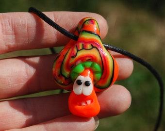 Fluorescent UV Mushroom Pendant Necklace Clay