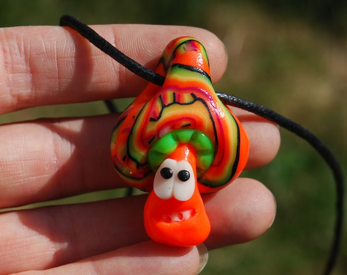 Fluorescent UV Mushroom Pendant Necklace Clay