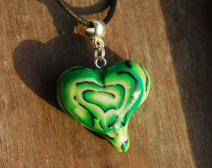 UV Blacklight Psytrance Pendant Green Heart Handsculpted Clay