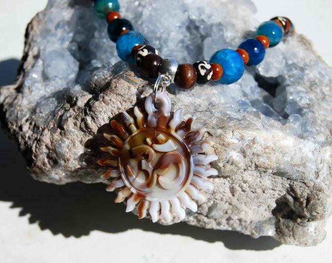 Necklace AUM Unisex Gemstones Wood