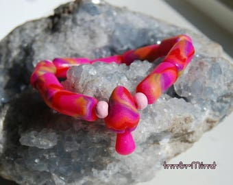 Pink UV bracelet Clay with cute little mushroom Psytrance