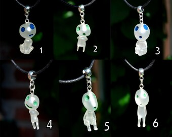 Forest Spirit Resin Pendant Necklace Glow in Dark Kodama