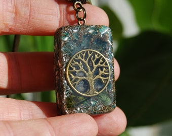 Orgonite® orgone Pendant with raw blue and green Tourmaline Rectangle Tree of Life