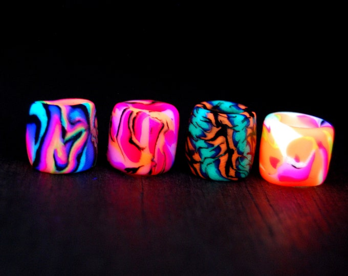 8-9 mm hole Beads Lot of FOUR Psytrance uv Blacklight Handsculpted Clay Colorful Warm