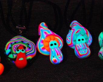 Set of FIVE uv Mushroom Pendants Blacklight Fluorescent Necklaces Handsculpted FREE Shipping !