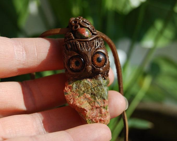 Raw Unakite Necklace Cute Fantasy Guardian Spirit Unisex