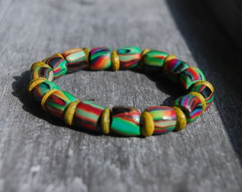 UV blacklight Clay Bracelet Tribal Psytrance Unisex