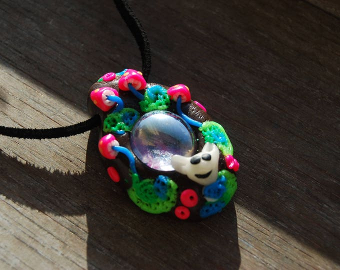 UV Blacklight Psy Pendant Glass Bunny Rabbit Mushrooms Forest Woodland Psytrance Psychedelic Unisex