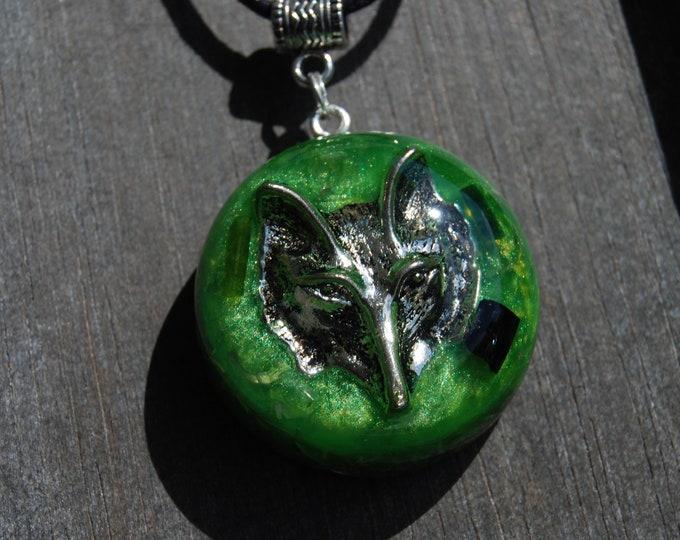 Wolf Spirit Animal Guide Orgonite® Orgone Pendant, Green and Black Tourmaline EMF Protection Unisex