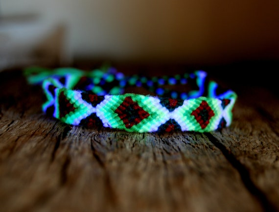 Cotton Friendship Bracelet Handwoven UV Blacklight, Unisex - FREE SHipping !