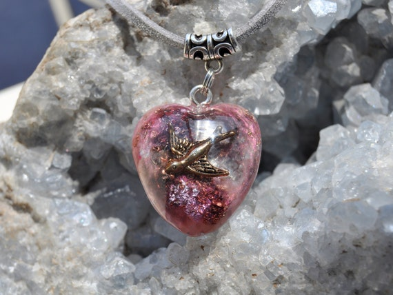 Sparrow in Heart Orgonite® pendant Necklace with Selenite