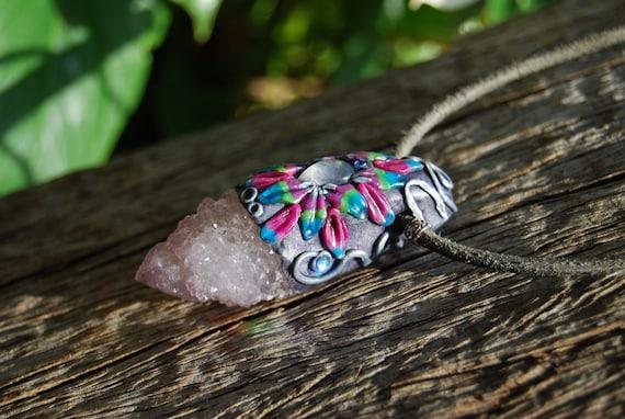 Lavender Spirit Quartz with Moonstone Gemstone Clay Pendant Necklace   - FREE Shipping !