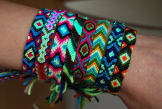 Friendship Bracelet Woven UV neon Blacklight Bracelets FREE Shipping
