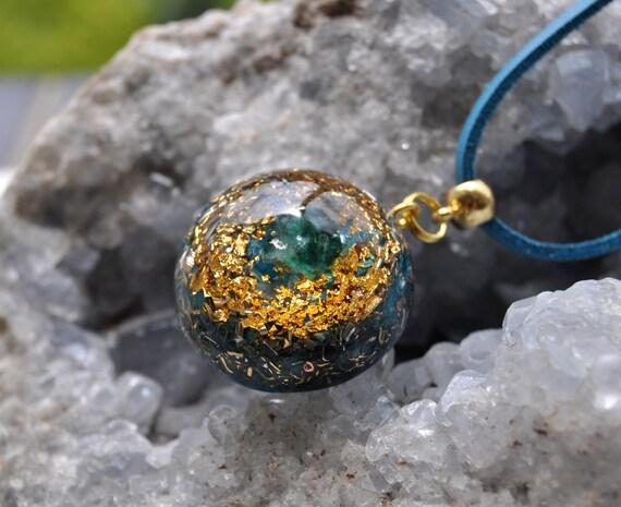 Blue Tourmaline Orgonite® Pendant Unisex EMF Protection, Unisex Jewellery