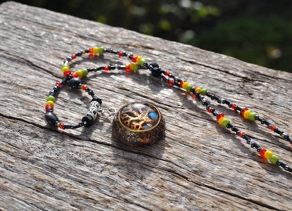Orgone Orgonite® Pendant Flash Labradorite, EMF Protection Unisex, Glass Beaded Necklace