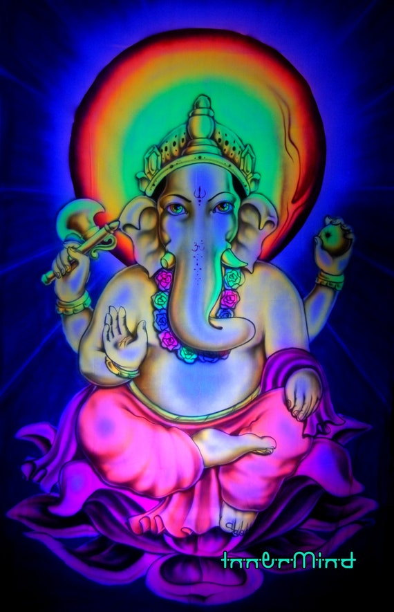 Free Shipping ! AIRBRUSH UV Lord Ganesha - Destroyer of Obstacles