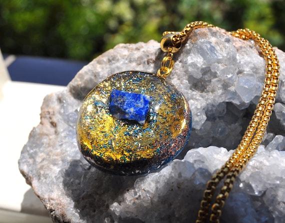 Raw Lapis Lazuli Orgonite® Pendant with 24K Gold - FREE SHipping !
