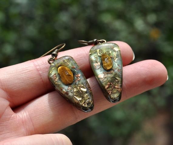 Orgonite® orgone Earrings with Tiger's Eye