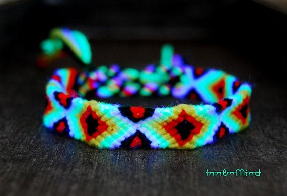Unisex Friendship Bracelet Handwoven Psytrance UV Blacklight Reactive