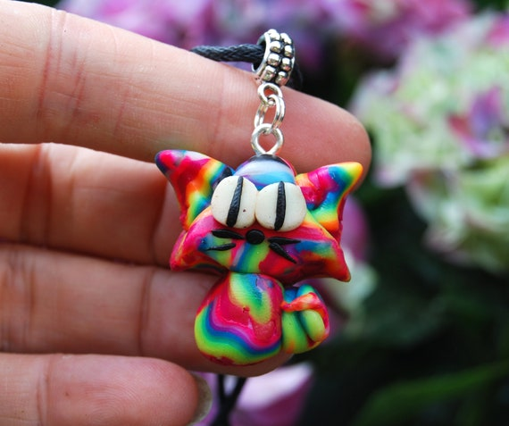 Cat Pendant Necklace, Rainbow UV Active with Glow in Dark Accents, Blacklight Fluorescent