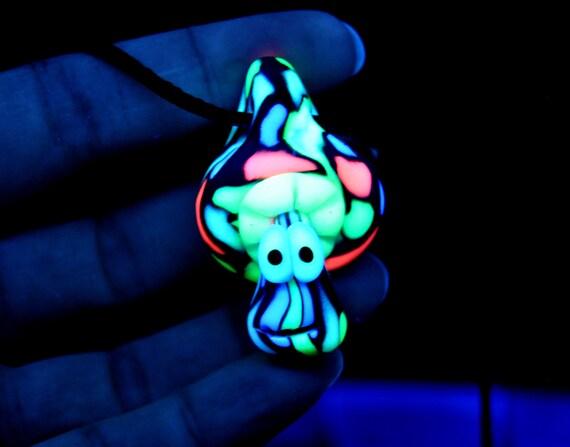 UV Mushroom Pendant Necklace, Psychedelic Clay