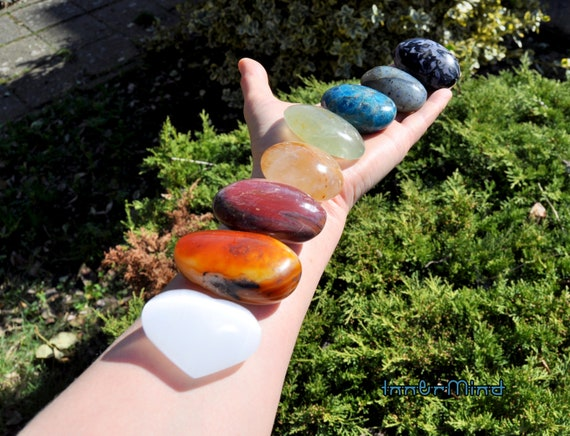 LARGE Chakra Palm Stone Set of EIGHT 8 Gemstones -  Free Delivery