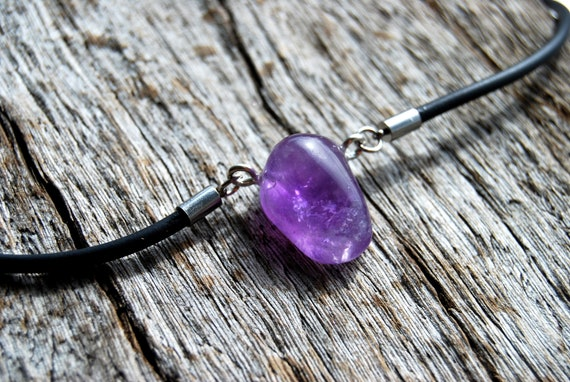 Amethyst Crystal Pendant on Rubber Necklace