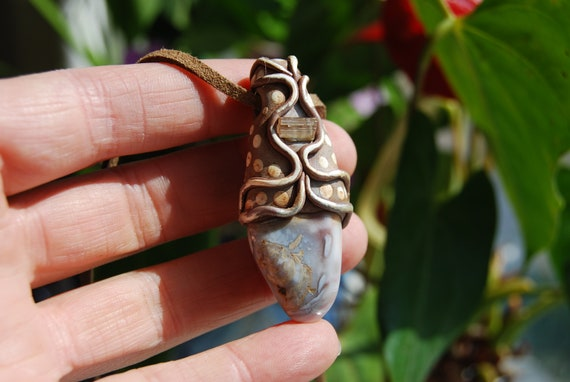 Botswana Agate with Achroite Tourmaline Necklace Unisex, Clay Handsculpted Unisex Unique