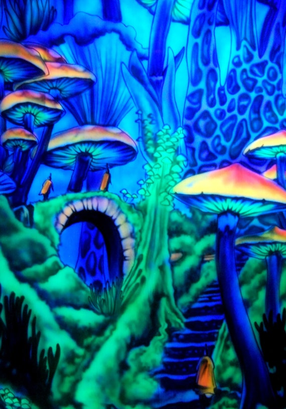 UV Tapestry Wall hanging Mushroom Jedi Scenery AIRBRUSH - FREE Shipping !