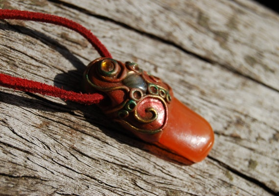 Carnelian Agate with flash Labradorite Pendant Necklace