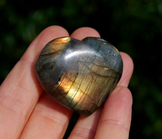 Labradorite Heart, 38 grams, Flashy Flash Colorful