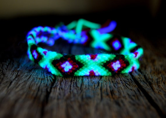 UV Blacklight Friendship Bracelet Cotton Wool, Unisex