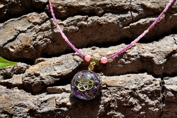 Seed of Life Orgonite® orgone Pendant with raw Amethyst, Beaded Necklace