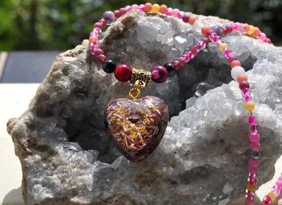 Watermelon Tourmaline Beaded Necklace Orgonite® Pendant Necklace, Heart Love