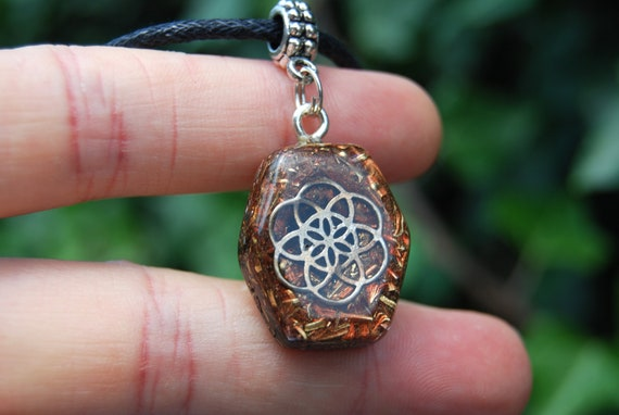 Seed of Life Orgonite® Orgone Pendant small Hexagon Shape, FREE SHipping !