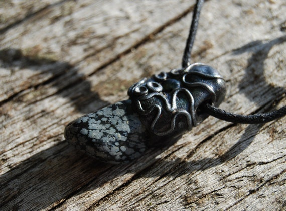Snowflake Obsidian Pendant Necklace Unisex, Handsculpted Clay