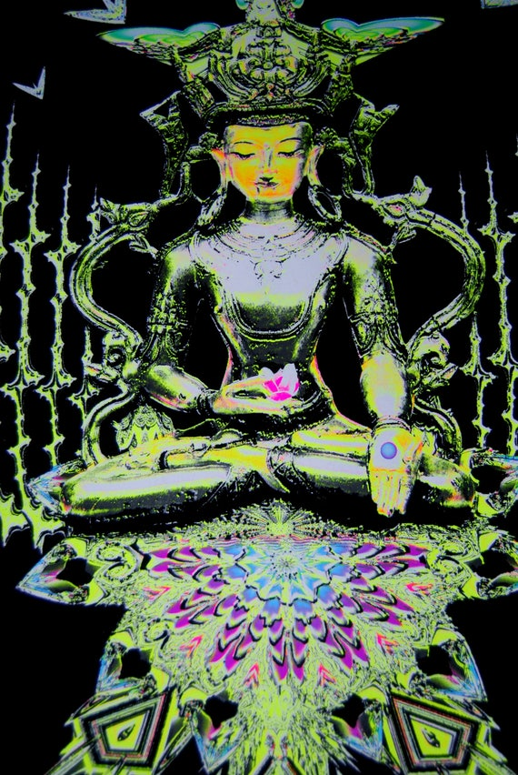 Buddha Fractal Spirit Poster UV Blacklight Flock Velvet Meditation