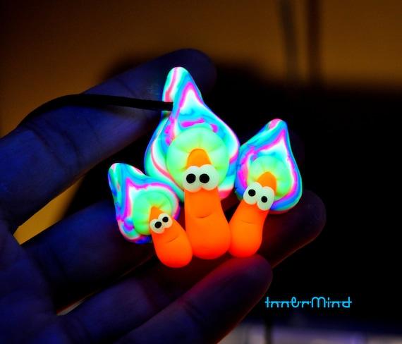 Cute Mushrooms Necklace, UV Active Blacklight, Colorfuk Clay Mushroom Pendant, Unisex - FREE Shipping !