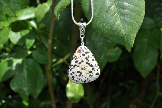 Dalmatian Jasper on 925 sterling Silver plated Necklace