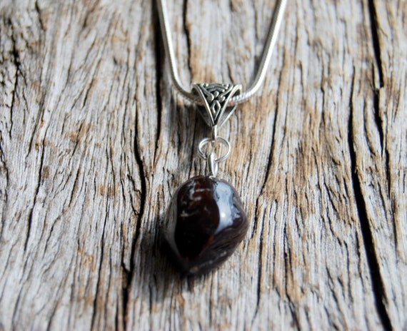Almandine Garnet Necklace Pendant on 925 sterling Silver plated Necklace, Unisex - Safety, Willpower, Protection