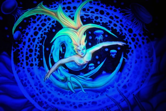 AIRBRUSH UV Mermaid Wallhanging Tapestry Backdrop