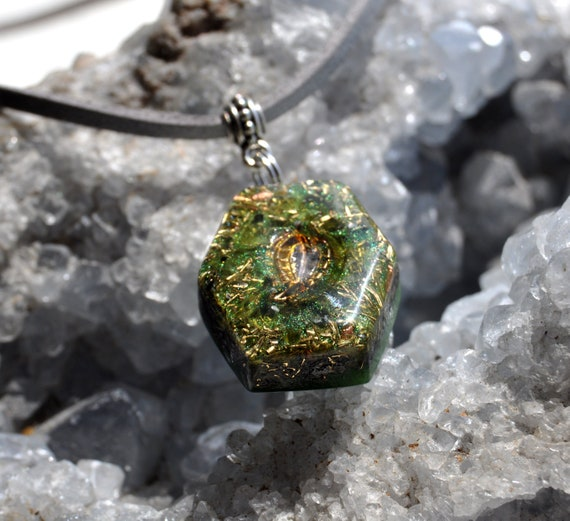 Peridot Orgonite® Orgone Pendant, Hexagon Necklace with little Leaf