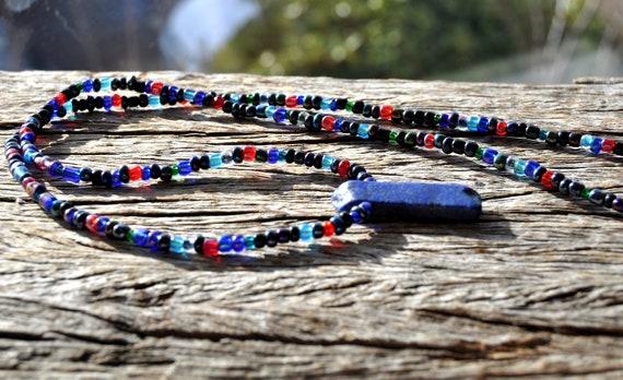 Lapis Lazuli Pendant, Long Glass Beaded Necklace - Unisex