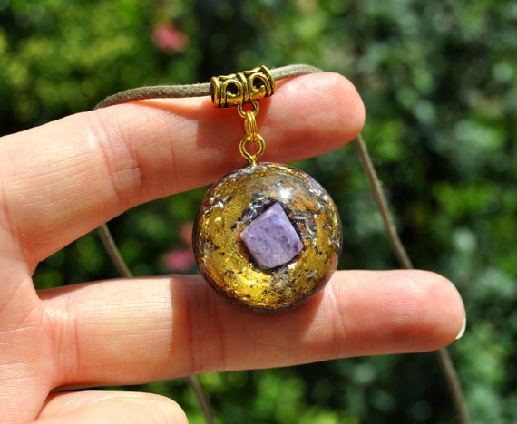 Purple Charoite Orgonite® with 24K Gold Orgone pendant Necklace Small UNISEX