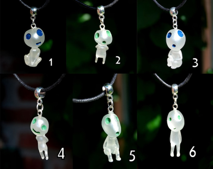 Forest Spirit Pendant Necklace Glow in Dark Kodama