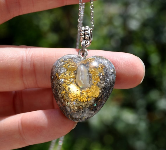 Pearl Orgonite® pendant Heart Love Orgone Necklace with 24K Gold