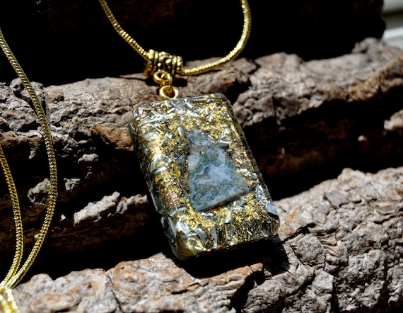 Orgonite® Pendant Mens Necklace with Moss Agate and 24K Gold
