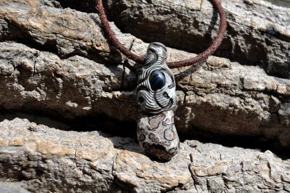 Ocean Jasper Pendant Necklace with blue Tiger Eye,  Unisex, Handsculpted Clay